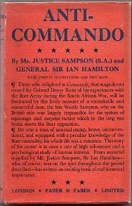 103. Hamilton, Ian, and Victor Sampson: Anti-Commando (London: Faber & Faber, 1931) 8vo; original red cloth, lettered in gilt on spine; dustwrapper; tinted top edge; pp. 220, incl.