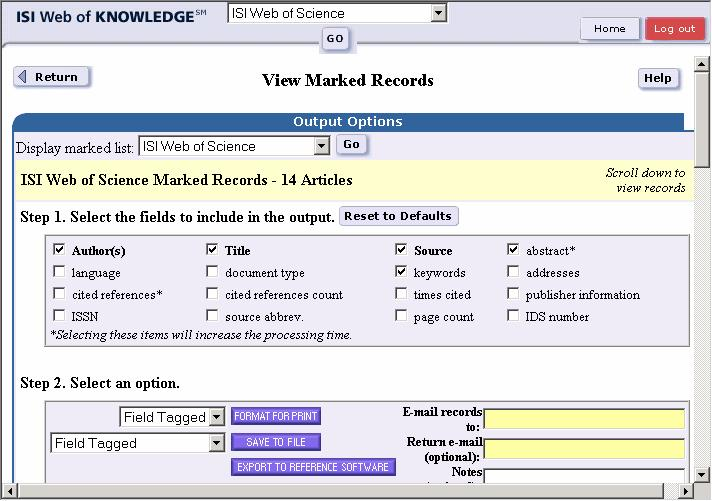12 Endnote 7 Figure 7. View marked records window from Web of Science with the abstract and keywords marked as additional download fields. 11. Click on the Export to Reference Software button.