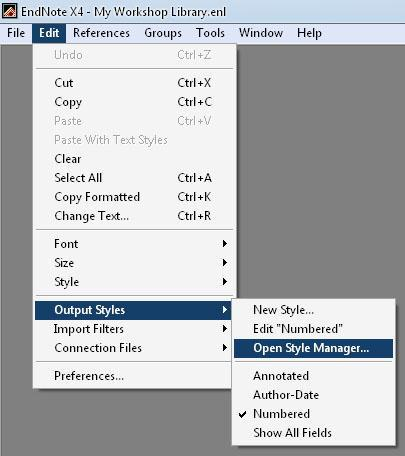 By default, EndNote s four standard bibliographic styles are installed in your Output Styles menu: Annotated: generates an Author-Date style bibliography with abstracts.