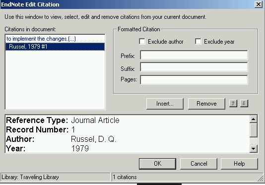 Editing In-text Citations Manual editing of citations inserted using EndNote will not work so it is essential that you use the Edit Citation function available from the Tools menu in Word.