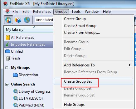 Tip: It is highly advised to keep only a single EndNote Library, and within that single library to use Groups