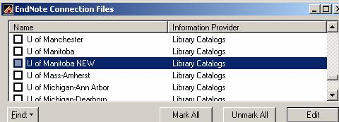 50 (connect file) settings of both Reference Manager & Endnote. IN ENDNOTE SELECT EDIT, CONNECTION FILES, OPEN CONNECTION MANAGER.