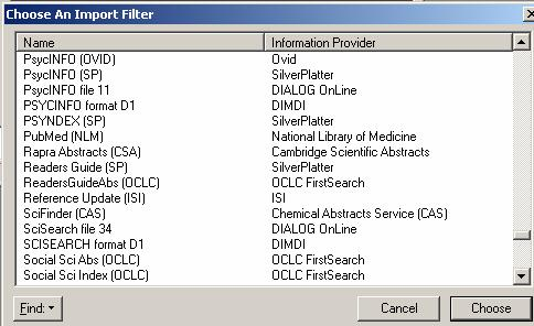 txt) c) IMPORT OPTIONS: select an import filter; i) click the drop down menu to select OTHER FILTERS ii) this will open the Choose An Import Filter window iii) then choose PubMed (NLM) d) DUPLICATE: