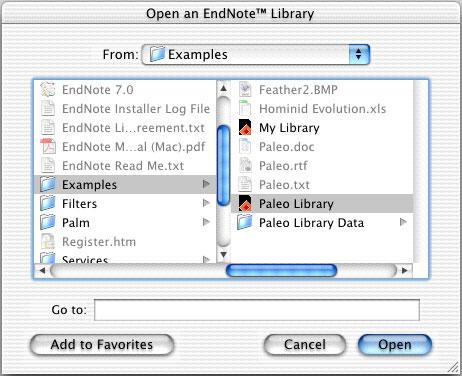 NOTE: If you have set a default library to open automatically, that library will open instead of the dialog shown above.