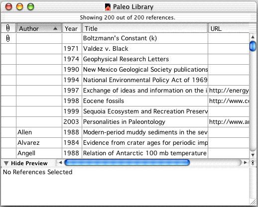 The Library Window When you open the Paleo Library you see the Library window listing all of the references that the library contains: Move column dividers to set column widths The Library window