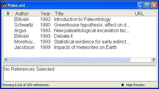 Notice the option between the two search items is set to Or. Click And to set up the search to find all references about extinction that are also published in 1990 or later.