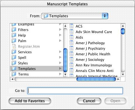 Create a New Document with the Manuscript Template Wizard Manuscript templates make it easy to set up your paper for electronic submission to a publisher.