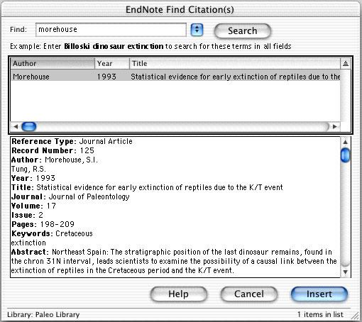 4. The EndNote Find Citations dialog appears. Type the author name Morehouse in the Find box and click Search. EndNote lists the matching references.