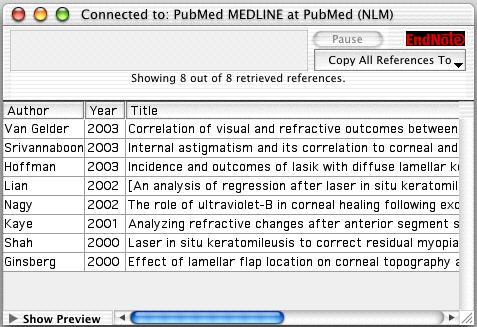 The references are downloaded and appear in the Retrieved References window for the PubMed Database connection.