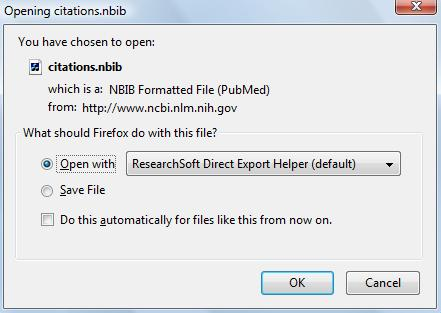 Windows: If you see this dialogue box, choose the [Open with] option, and use the dropdown list to select the program ResearchSoft Direct Export Helper. Click [OK].
