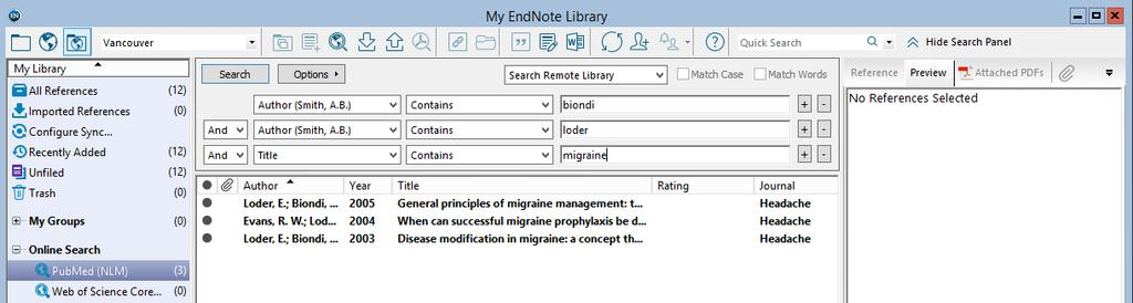 SEARCHING PUBMED FROM WITHIN ENDNOTE Make sure that Integrated Library & Online Search Mode is selected on the toolbar.