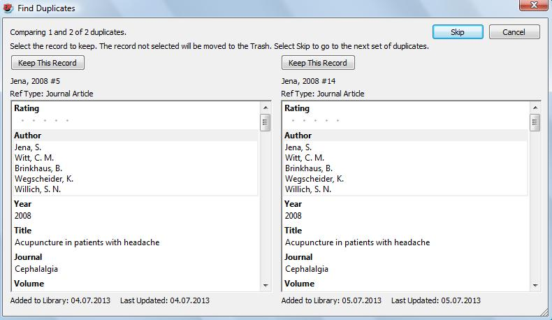 MANAGING AND ORGANIZING REFERENCES SORTING REFERENCES References can be sorted by clicking on a column heading.
