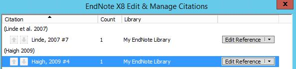DELETING CITATIONS Click on the citation you wish to delete. Select the Edit & Manage Citation(s) button on the EndNote tab in Word. Make sure the citation you want to delete is highlighted.