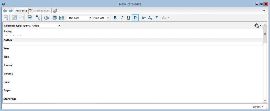 MANUALLY ENTERING REFERENCES From the References menu, choose New Reference or click on the reference to an open library.