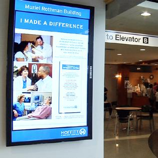 Digital Signage Displays Commonly available in 32-90 sizes, digital displays can be easily configured to accommodate the needs of your modern cafeteria.