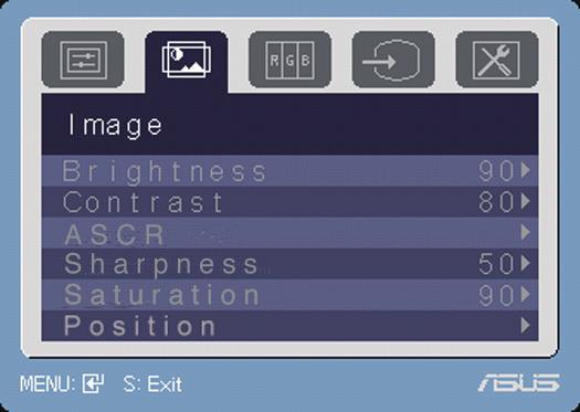 2. Image You can adjust brightness, contrast, sharpness, saturation, position (VGA only), and focus (VGA only) from this menu. Brightness: the adjusting range is from 0 to 100. activate this function.