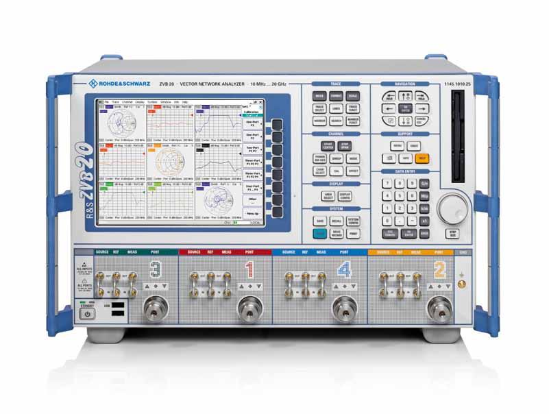 R&S ZVB Vector Network Analyzer Front view User-friendly front panel Indication of direction of signal path Hardkey navigation for measurement software and Windows XP allows R&S ZVB operation