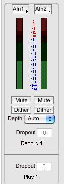 Pop-Up Menu: Gives you a the choice of all available input options from which to choose. Peak Meters: Displays the instantaneous level of the audio being sent to the ynxtwo.