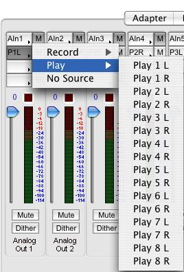 The record channel popup menu also shows the associated input that is routed to that record channel. This routing is changed on the ecord/play page.