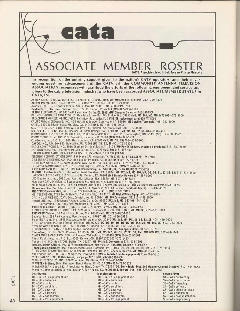 cata ASSOCATE MEMBERROSTER il0te: Associates listed in bold lace are Charter Members - F o n recognition of the untiring support given to the nation's CATV operators, and their neverending quest for