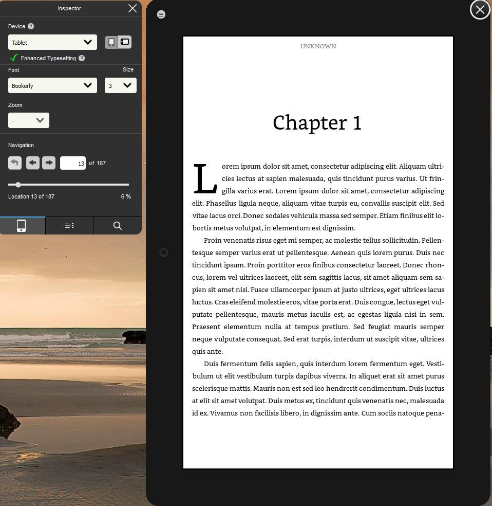 3.6 Previewing Your Book After you have made all the improvements and changes you wish to your book, you can review the layout and formatting on a simulated device by launching Kindle Previewer.
