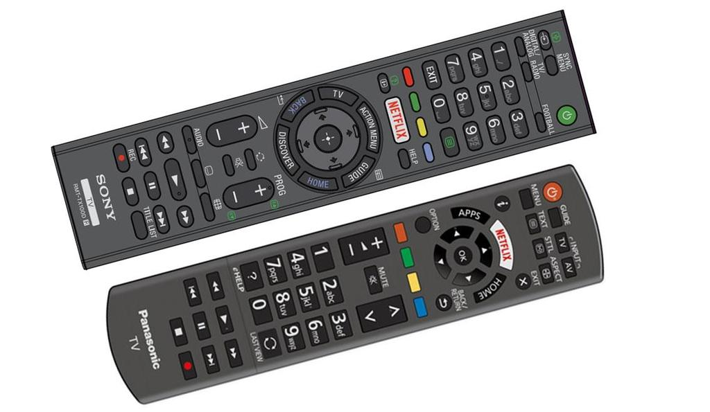 Figure 1 - Remote controls from Sony and Panasonic's 2015 EU TV range, featuring a prominent Netflix button The launch of Freeview Play will contribute to the continuing delivery of positive public