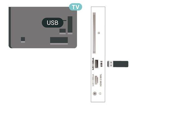 1 - Connect the USB Hard Drive to one of the USB connections on the TV. Do not connect another USB device to the other USB ports when formatting. 2 - Switch on the USB Hard Drive and the TV.
