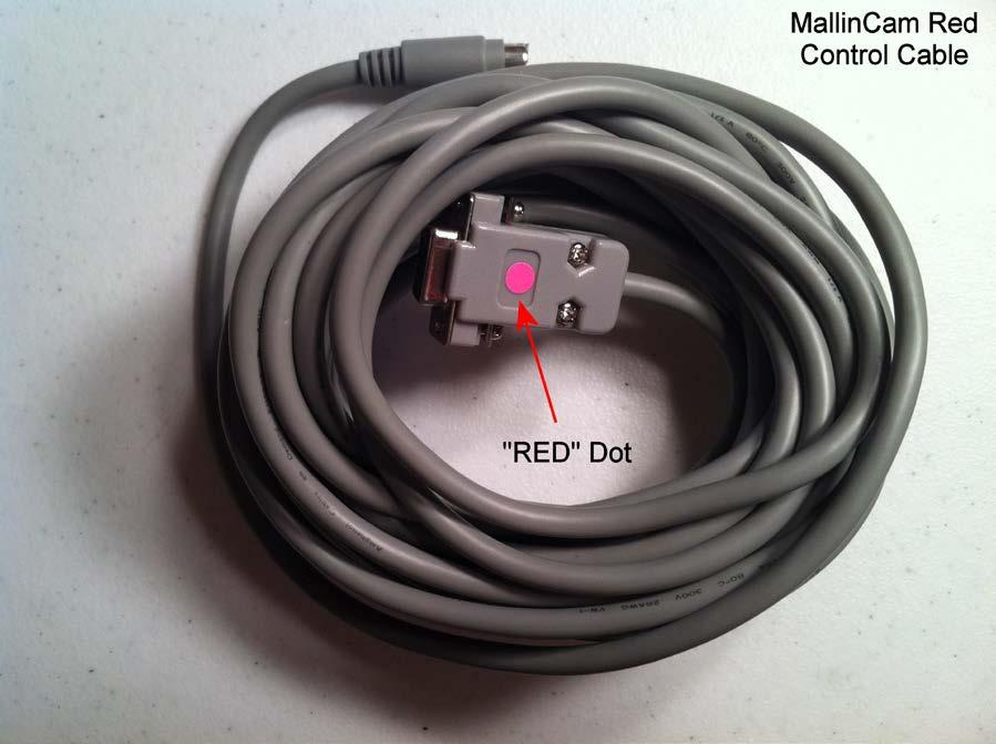 Figure 9 is a photograph of a RED Control Cable as indicated by the RED dot on the RS232 connector.
