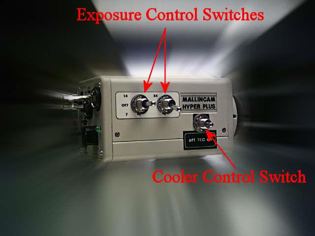 For a Hyper Plus, all exposure control adjustments are made using the switches on the side of the camera.