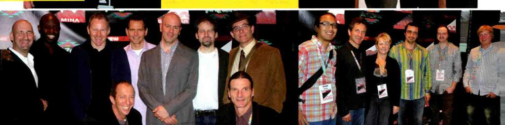 """ ABOVE: SESAC senir directr f writer / publsher relatins Jhn Mullins (far left) pses with My Friend Cab Music president Dale Bray; hnrees Juan Oter and Seth Msley, wh perfrmed their"