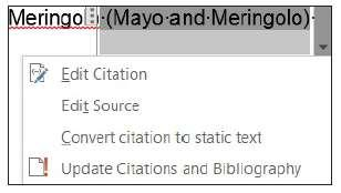 Key the source information for MLA style in the dialog box, as shown below.