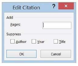 5. Click Yes. 6. The citation is still selected. Click the downward-pointing arrow on the placeholder again, and this time select Edit Citation. The Edit Citation dialog box appears (right).