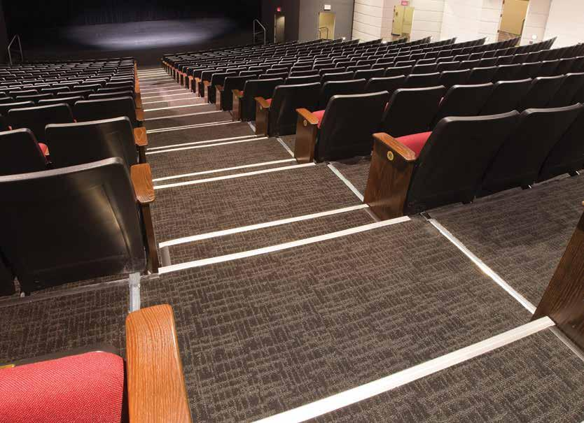 STAGE FLOOR Hard wood sprung floor painted black (No drilling or screwing is permitted) Stage trap coverings: 6 @ 3 11 x 8 Trap depth: 9 (No elevating device or stairs in traps, must replace covers