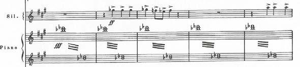 melodic, with the melodic form taking a descending profile. Here, in Symphony No. 5, the composer gives this motive to the xylophone. Fig. 3.7 - Symphony No. 5, mvt. 2, mms.