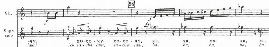 Fig. 3.20 - Symphony No. 14, mvt. 6, mms. 29-34, betrayal motive in xylophone Here, the flippant abandonment of the woman s heart represents the ultima.te expression of faithlessness.
