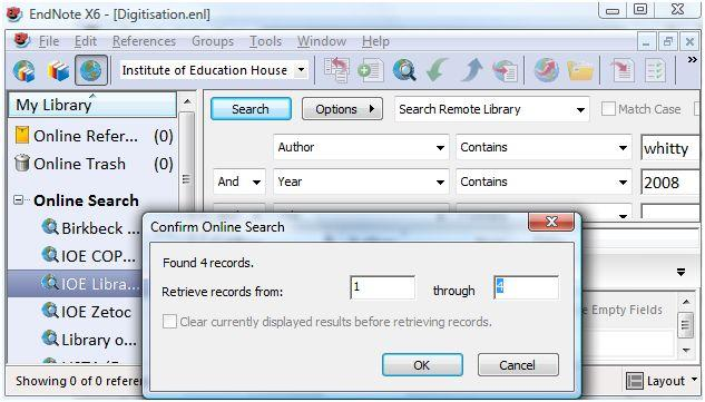 You have the option of retrieving all of the references or a specific range of references. Click OK to retrieve and view these references. 9.