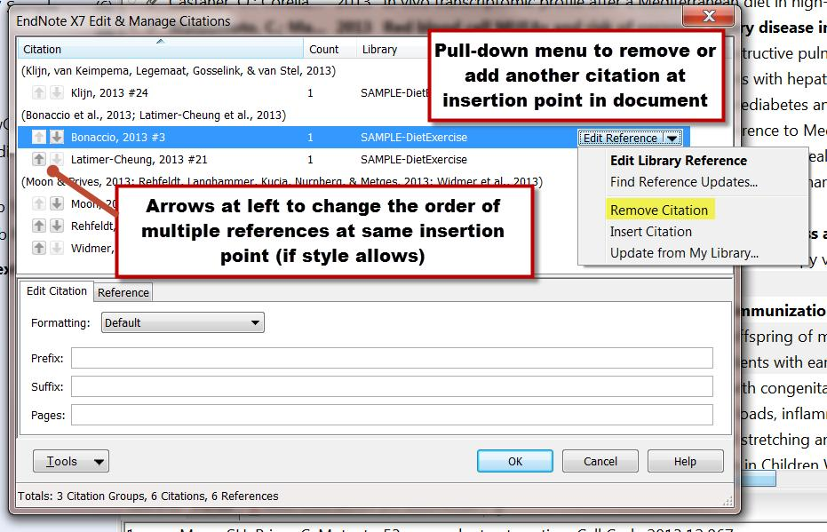 Click the Edit and Manage Citation(s) link in Word s