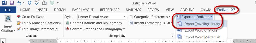When the Export Traveling Library window opens, use the pull-down menu or Browse options to locate the EndNote Library to receive the