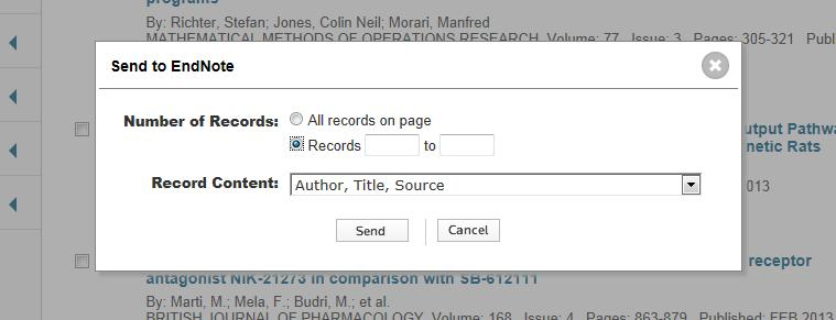 EndNote Export References from Web of Science If you did not select single references, also a range can be