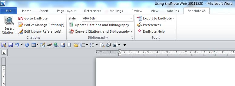 Cite while you Write Using your Citations in Documents With EndNote you can insert selected citations into your Word 2007 or 2010 document while you are writing it.