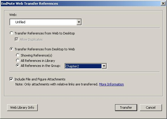 Select the EndNote Desktop folder you want to transfer from ( Chapter2 is currently selected ) and the folder in EndNote Web you want to transfer to (in the