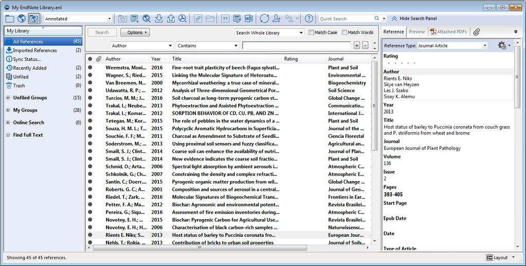 Add references to a library 5. The Library window is shown, with references sorted by first author name, publication year or title (Figure 6).