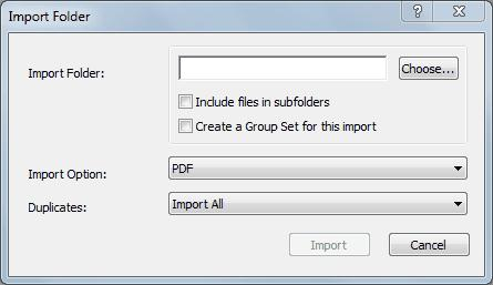 6. Start EndNote. Create a new library or open an existing one. 7. Select Import... from the File menu and choose Folder... A pop up window named Import Folder appears (Figure 8). 8. Click Choose.