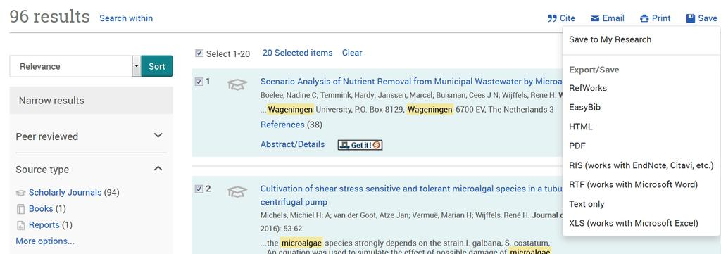 Perform a search Check references on the search results page and click on Send to:, if you don't check any references then all references will be sent to EndNote with a maximum of 200 at a