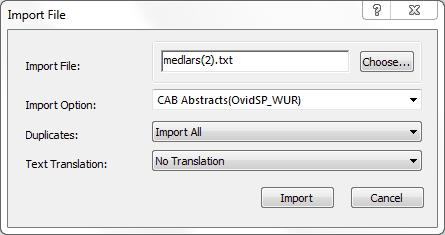 Figure 29. Import File window in EndNote 3.
