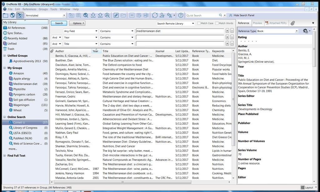 Add references to a library Figure 35. Connection window 5. After you have finished searching the Cornell University catalogs, click on the group All References to view your entire EndNote library.