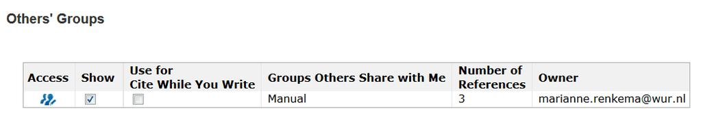 EndNote Online 7.5.2 Others' groups Access to others' groups is possible via the link Others' Groups under the tab Organize (Figure 69).