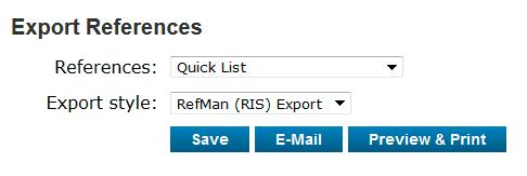 4 Export references References in the EndNote Online library can be exported in different formats for different reference management software packages via Export References under the tab Format.