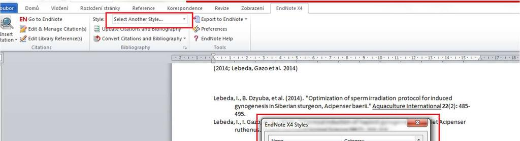Select a bibliographic style 1.