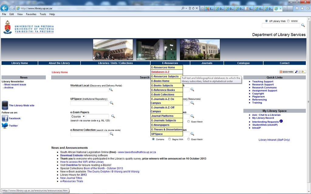the library website http://www.library.up.ac.